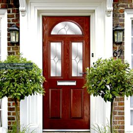 Composite front door replacement in classic rosewood